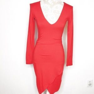 ASOS RED Fitted Mini Cocktail Party Dress Sz4 d245